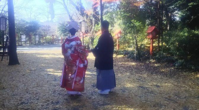 5月の改元で迎えた令和元年も残すところ10日余りとなりました。明後日22日の冬至を境に少しずつ日が伸び、いよいよ新しい年が始まります♪さて、本日は甲大鳥居の銀杏の絨毯で手を取り合いながら仲睦まじく歩く新郎新婦様に出会いましたので、ご紹介させていただきます(^^)