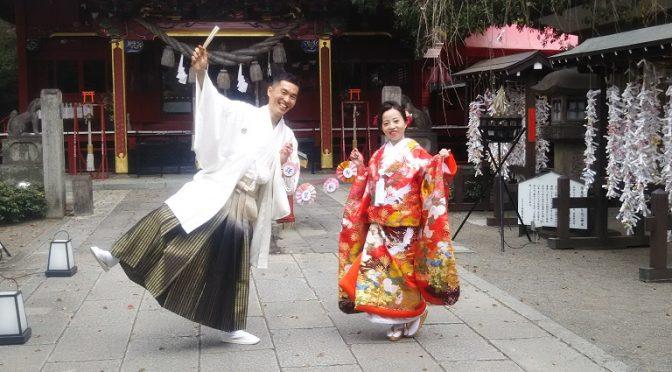 満開の桜の下♪挙式の後撮りにご来社いただいた素敵な新郎新婦様に出会いました(^^)
