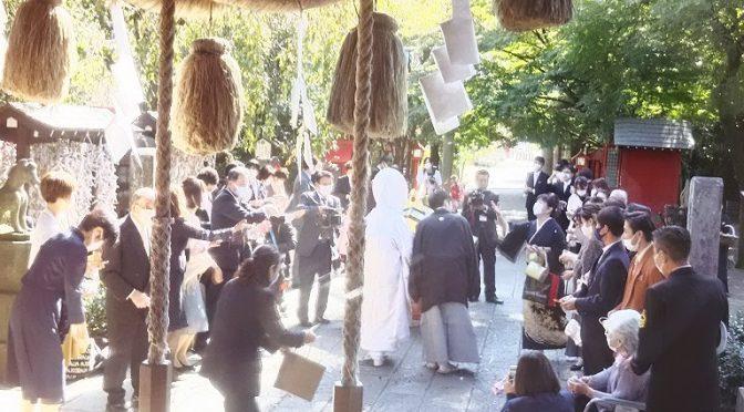 本日、大安吉日♪秋晴れの空の下、神社婚(神前結婚式)が執り行われました(^^)