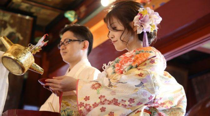 今日は拝殿にて結婚奉告祭が執行されました。